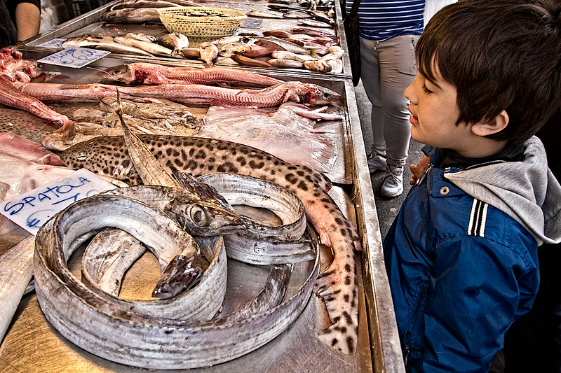 Spatola, (Scabbard in English), deep-water fish that have no scales and are easy to prepare, are sold at a local booth at the morning market in Syracuse, Sicily.