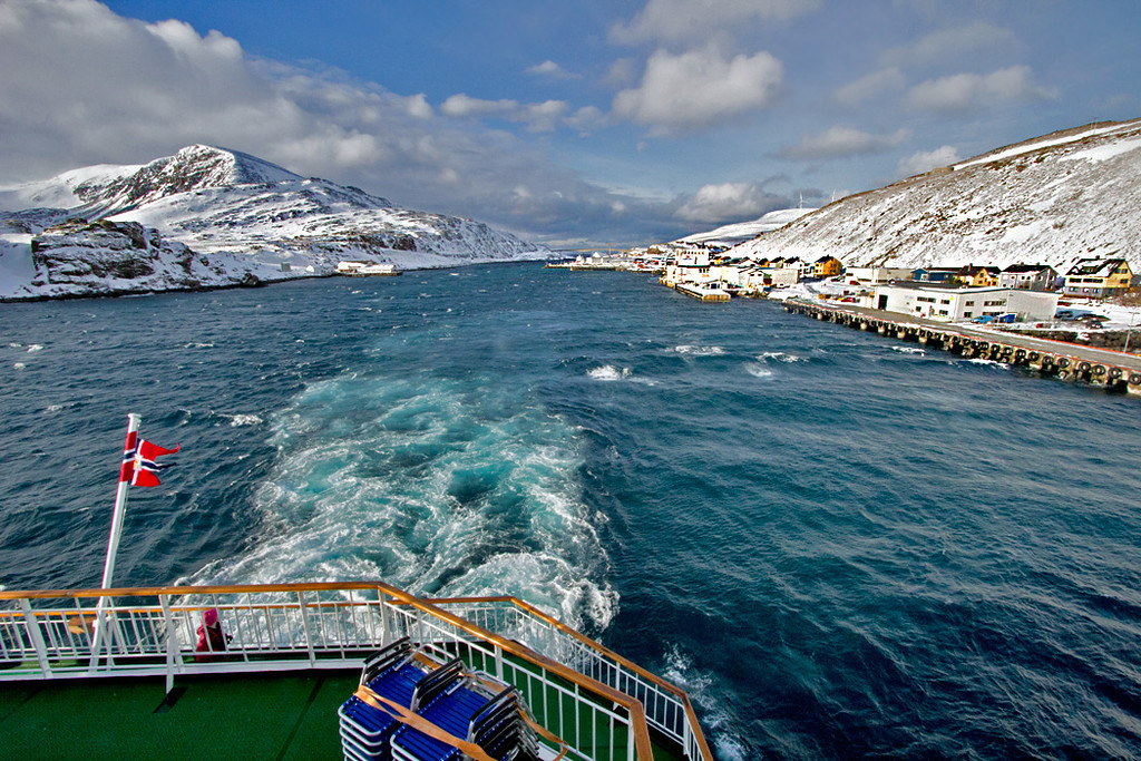 Pulling out of Havoysund on the Hurtigruten voyage around the northern tip of Norway