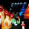 Illuminated dragon forms part of display at Thapae Gate during Yee Peng festival in Chiang Mai, Thailand