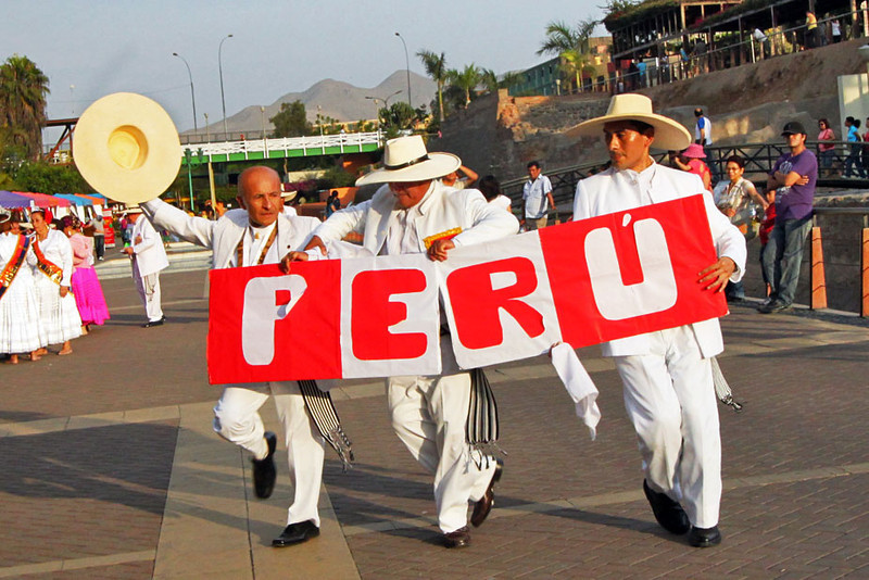 Traditional dancers at Parque de la Muralla, Lima, Peru