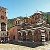 Hrelyu Tower, the oldest building at Rila Monastery in Bulgaria, sits next to Church of the Nativity of the Virgin