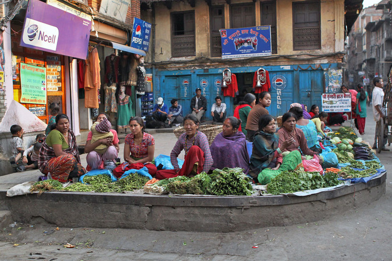 Vendors wait patiently for customers in Kathmandu, Nepal