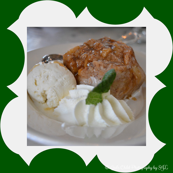 """""""SWEET TIDINGS""""<br /> <br /> """"I want to have a good body, but not as much as I want dessert."""" ~ Jason Love <br /> <br /> Another obligatory plate shot.......<br /> <br /> Bread Pudding with Bourbon Caramel Sauce (served in style with a side of delightful ice-cream and whip cream)! <br /> <br /> We dined here for the """"Mother's Day Brunch"""" and feasted on delicious and mouth watering Buttermilk Fried Chicken with Maple Syrup and Belgian Waffles. I love, love, love a good bread pudding, and since the death of my beloved grandmother in 1985, I have only found two places that cook bread pudding that's comparable to hers - this restaurant and a place in Madison, Mississippi that I can call and request that they prepare six slices in separate take-out containers ready for me to pick up and take home (whenever I am in the area). The guys' dessert was the """"Delta Delight"""" - a Moist Yellow Cake Mixed with Cream Cheese and Pecans topped with Vanilla Bean Ice Cream. <br /> <br /> Giradina's Restaurant<br /> @The Alluvian Hotel<br /> 316 Howard Street<br /> Greenwood, MS<br /> <br /> (photo taken 5/10/2015 - Mother's Day; PM's frames applied on 5/13/2015)<br /> <br /> My Homepage:  <a href=""""http://www.Godschild.SmugMug.com"""">http://www.Godschild.SmugMug.com</a>"""