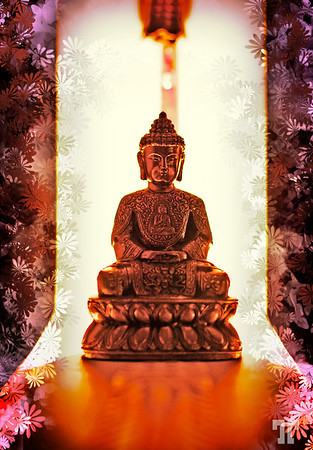 Buddha with flowers  I just played with some PS filters on a photo I took while shooting for the still life contest :)...