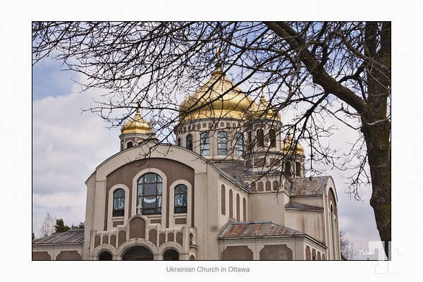 """Apr. 20 2012  Ukrainian Church in Ottawa   - Looking for nice Orthodox churches to photograph, I found this one that attracted my eyes with its golden cupolas and great windows - it was not very sunny, but I really like this kind of cloudy light :)  * I'm so proud to let you know that I won the contest for old photography on Dgrin, with the """"Chateau Laurier"""" photo I posted few days ago :)"""