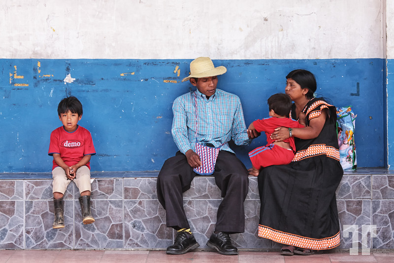 Kuna family in Boquete, Panama waiting for the bus  March 10, 2012