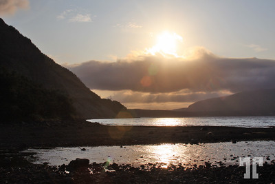 Sunset with sea and mountains in Trinity Bay,Newfoundland, Canada  26 Sept. 08