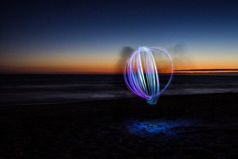 Light painting on the beach.  My orb tool came apart before I could get it perfect.