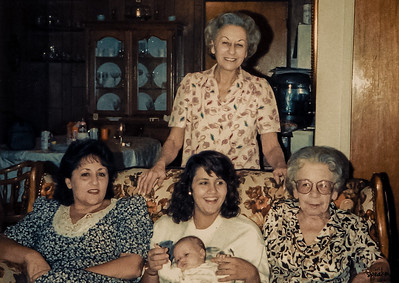 Day 51 - Memories Thanksgiving 1989.  This photo was taken shortly after my daughter was born.  This is our 5 generation photo...me, my baby daughter, my mom, my grandma pearl and my Nana Ann (my great grandma).  We lost my grandma Pearl today to cancer, she was 84.  This photo was on my mind all afternoon.  We lost my Nana Ann in 2005 at the ripe old age of 96.  My mom passed way in 2007 due to pancreatic cancer.  Today, all who remain of this photo is me and my daughter.  My heart hurts.