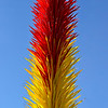 """SCARLET AND YELLOW ICICLE TOWER"" (2013) by Dale Chihuly"
