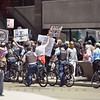 Protests begin to ramp up in Chicago in anticipation of the NATO Summit this weekend.  (Post 2:2)<br /> <br /> Protesters carrying signs and chanting messages disapproving of NATO and President Obama marched near the corner of Randolph St. and Michigan Ave. in Chicago, Thursday, May 17, 2012. One demonstrator carried what appeared to be a homemade drone. (photo/S. Eisen)