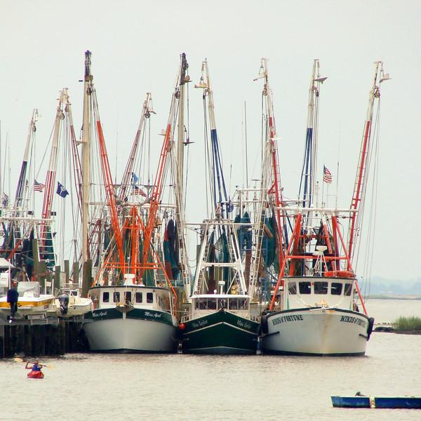 Fishing boats at dock in Charleston, South Carolina.