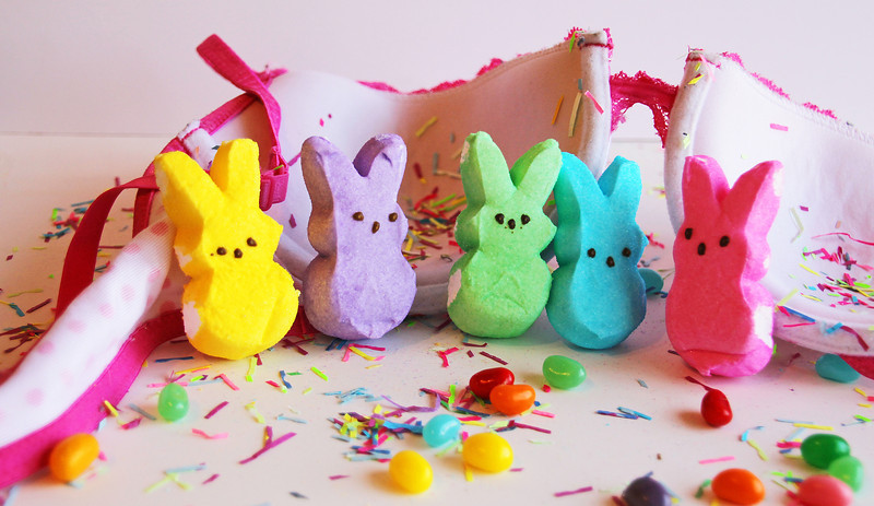 "Happy Easter from the Peeps at the Sisterhood.<br /> <br /> I considered using bra cups as Easter baskets, but liked this idea and knew I needed just one. I jokingly said that I should make little bras to go on the bunnies and my 17-year old said, ""Hey Mom, that would be just wrong."""