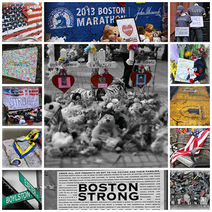 This is my small tribute to the people of Boston. I had the opportunity to be in Boston over the last couple days. It's a city feeling great pain, but at the same time there is a out pouring of togetherness and a real feeling that this will draw the people into a strong bond. They made you feel like this will make them stronger and the injured will heal. These shots are from around the area of the finish line.  As you can see, the memorials set up were truly moving and you could feel the presence of those lost or injured.... Thank You Boston for opening your arms and allowing visitors in and making all feel very welcomed. God Bless you all! I have put all the photos that I have edited from this trip into a gallery for all to see. Take a look - full size is so much more powerful.