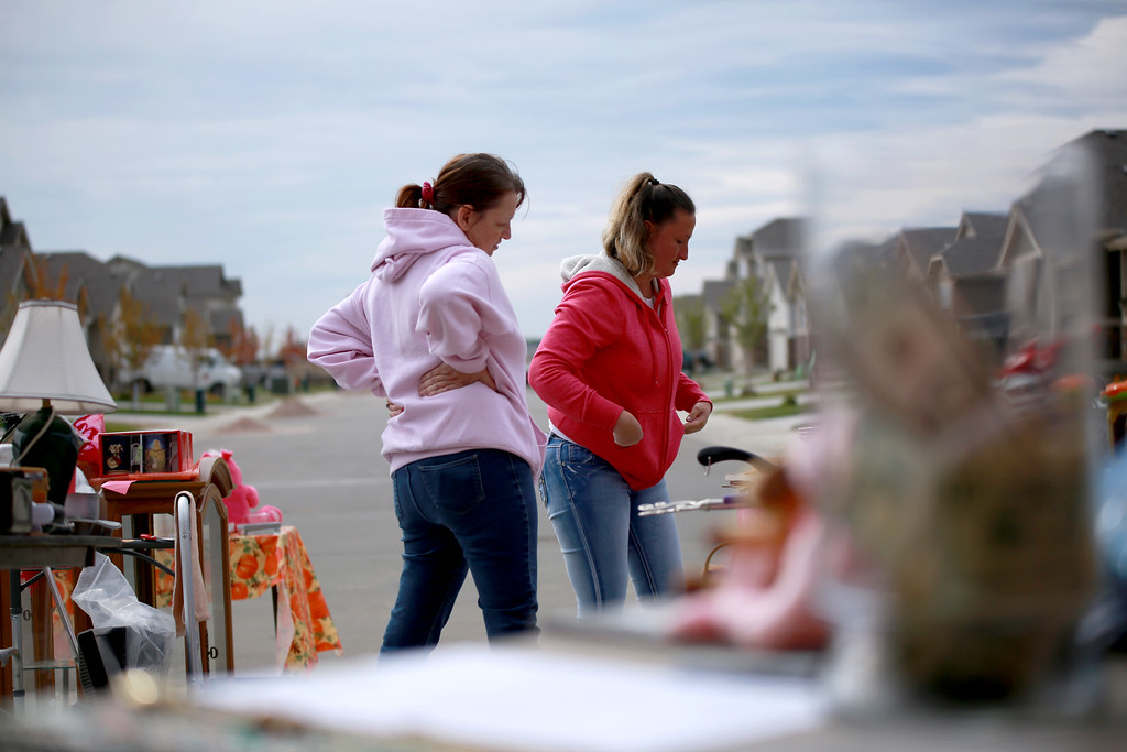 . On Sept. 29, 2018, Susan Kaczmarek and her friend, Stacie Drake work a yard sale in Berthoud that they are hosting to raise money Kaczmarek�s son, Dakota Haas who is recovering from traumatic brain injury he received from and accident.