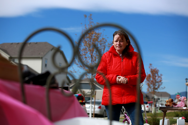 Susan Kaczmarek hosts a yard sale on Sept. 29, 2018 in Berthoud in order to help support her son Dakota Haas, who is in recovery from a traumatic brain injury after an accident involving an RV.<br /> Photo by Taelyn Livingston/ Loveland Reporter-Herald