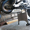 Engine skidplate and centerstand skidplate on the GSW. The engine skidplate is $120.00. The centerstand skiplate is $55.00. Both come with stainless steel hardware. Note the sidestand fatfoot in the up position. Email me at dakotabeemer@hotmail.com to order.