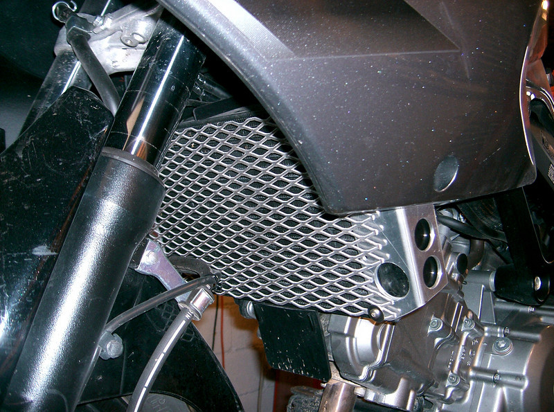 Radiator grill for the 650 V-Strom. Hand fabriated, all aluminum construction. Simple installation. Can be powdercoated or painted. Price $90.00.