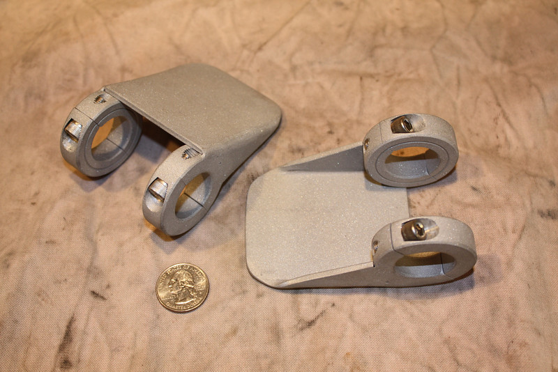 """Aluminum aux light mounts. Hand fabricated and TIG welded. Left blank to drill your own mounting holes. Fits 1"""" diameter crashbars. Price: $70.00 a pair."""