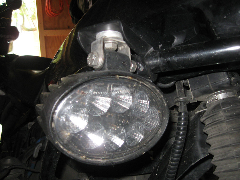 """These are some 28 watt LED lights and mounts that I have on my own 1992 R100GS. The mounts clamp to 1"""" tubing which is a very common size for crash bars. the mounts sell for $80.00 a pair. The mounts and lights together cost $230.00. Contact me at dakotabeemer@hotmail.com"""