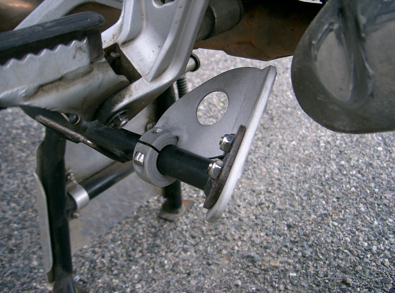 Fatfoot for the R1150GS in the up position. All aluminum construction. Hand fabricated and TIG welded. Price $40.00