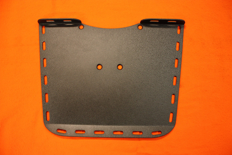 """Rear cargo rack: Hand fabrciated from 1/8"""" aluminum and powdercoated in a satin black wrinkle finish. Measures 16"""" in the front, 13"""" at the back and 12"""" deep. Custom sizes available. Price: $90.00."""