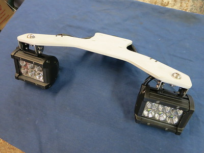 First generation KLR650 light mount with 18 watt Cree LED flood lights. Cost $210.00