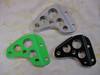 KLR650 early generation rear master cylinder guard. Powdercoated Kawi green, satin black or natural aluminum. <br /> Price: $35.00 for natural aluminum or $40.00 for powdercoated finish.