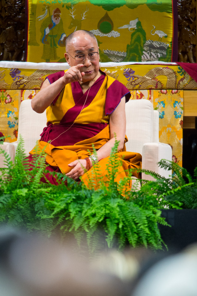 "The Dalai Lama talks during the morning session in the Coors Event Center at the University of Colorado Boulder on Thursday. During a two-hour morning session, the spiritual leader delivered remarks on ""Eight Verses of Training the Mind"" to members of the public.<br /> More photos:  <a href=""http://www.dailycamera.com"">http://www.dailycamera.com</a><br /> (Autumn Parry/Staff Photographer)<br /> June 23, 2016"