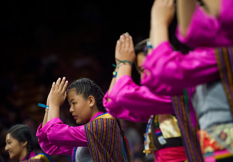 "Students from Boulder's Tibetan Cultural School perform before the Dalai Lama appears for the morning session in the Coors Event Center at the University of Colorado Boulder on Thursday.<br /> More photos:  <a href=""http://www.dailycamera.com"">http://www.dailycamera.com</a><br /> (Autumn Parry/Staff Photographer)<br /> June 23, 2016"