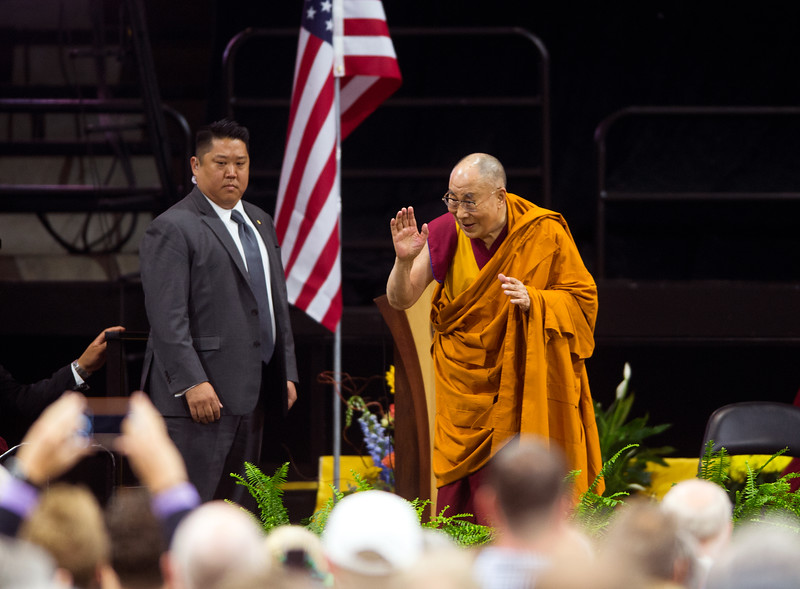 "The Dalai Lama greets the crowd during the morning session in the Coors Event Center at the University of Colorado Boulder on Thursday. During a two-hour morning session, the spiritual leader delivered remarks on ""Eight Verses of Training the Mind"" to members of the public.<br /> More photos:  <a href=""http://www.dailycamera.com"">http://www.dailycamera.com</a><br /> (Autumn Parry/Staff Photographer)<br /> June 23, 2016"