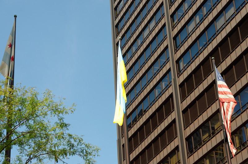 Ukraine Flag Raising Ceremony Millennium Park Cloud Gate