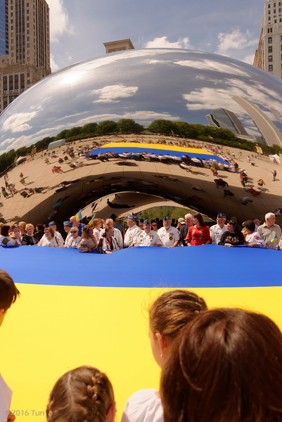 Ukraine Flag Raising Ceremony Millennium Park Cloud Gate