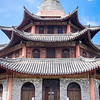 facade of typical ancient imperial China building, in Dali, Yunnan