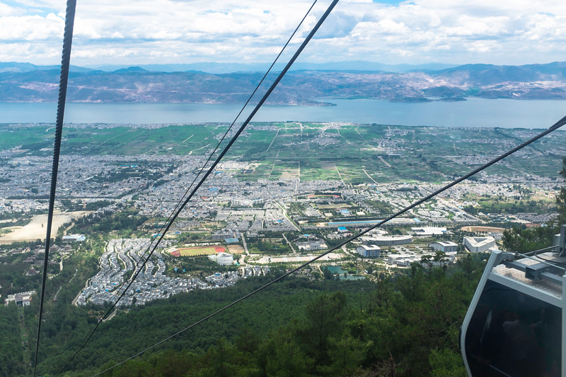 a view from the mountains over the city of Dali, Yunnan, China