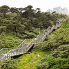 Stairs to cable car station in Dali, Yunnan, China mountain of Cangshan
