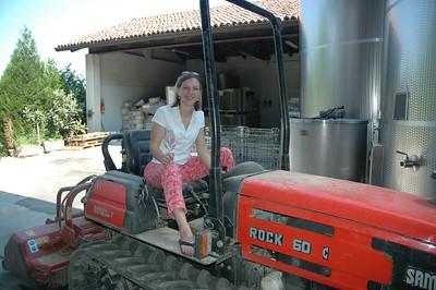 """Tini does the tractor pull.  Dalla Terra """"Giro d'Italia"""" Tour June 2005"""
