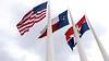 Tri vlajky - USA, štát Texas a mesto Dallas
