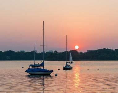Sailboat Sunset, White Rock Lake, narrow