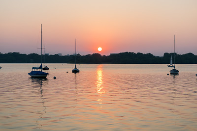 Sailboat Sunset, White Rock Lake, wide
