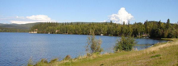 8/31/07 - Birch Lake, looking warm and inviting under the sunny blue sky.  All too soon there will be ice-fishing shanties along this same shoreline.