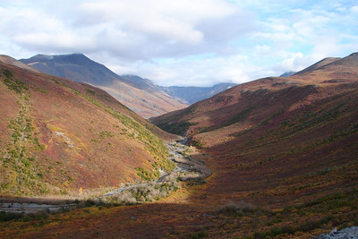 9/1/07 - The view over the side of the hill leading up to the Chandalar Shelf.  Although we were in somewhat of a hurry, the scenes were too pretty to pass up a couple of times.
