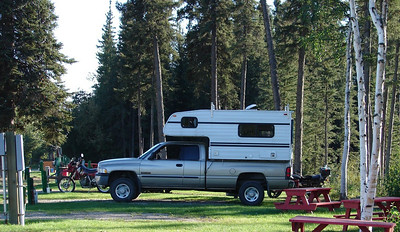 8/31/07 - Mark's pickup and camper, parked in the Santaland Rv park where we left it as we rode on to Deadhorse and back.