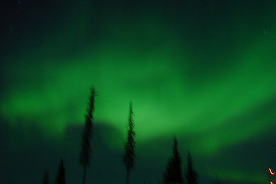 9/2/07 - Once again, around 2:00 AM, as we unloaded the bikes and prepared to catch some sleep in the camper, the Northern Lights treated us to a sight enjoyed by all of us who are fortunate to spend time in this northern area.  Not taking time to unpack the tripod for a proper shot, I only braced my hands on top of a post for the 30 second exposure.  The way the aurora was moving so rapidly, and so bright, it actually produced a photo with too much light.  The next photo was shot with a shorter, 15 second, exposure.