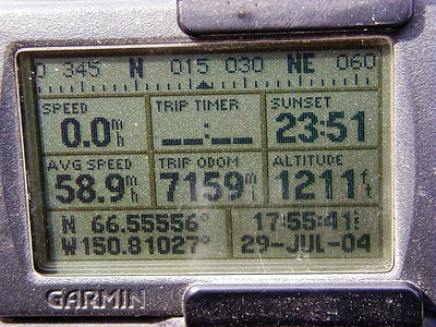 7/29/04 18:55 ADT - The Garmin's display at the Arctic Circle.  Notice the time of the sunset at that latitude.  (It is my habit to keep my camera and GPS set to Alaska Standard Time year 'round, regardless where I am, in order to minimize confusion when going back over photos.)