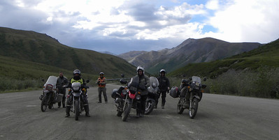 MTF (Motorcycle Tourers Forum) riders doing an Iron Butt UCC/UCCC (Ultimate Coast-to-Coast/Ultimate Coast-to-Coast-to-Coast) ride originating at Key West, FL and ending/turning around at Prudhoe Bay, AK. Left to right:  Jeremy, Dan, Greg, Joe, & Rob.  A great bunch of rides, enjoying the trip.