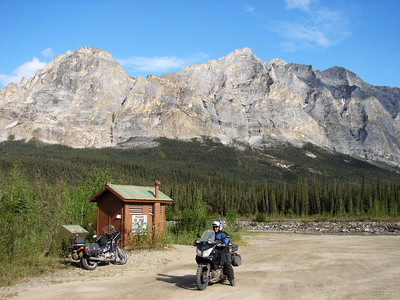 5/30/07 - Brian astride his V-Strom in front of Sukukpak Mountain, next to the middle fork of the Koyukuk River.