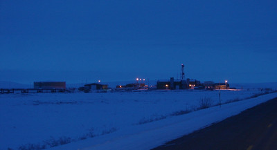 12/25/07 11:19 - Many rough miles south of Deadhorse, enjoying a brief smooth ride on the farthest north stretch of asphalt pavement, we pass Pump Station 2, no longer pumping, having been placed in standby status in July of 1997.
