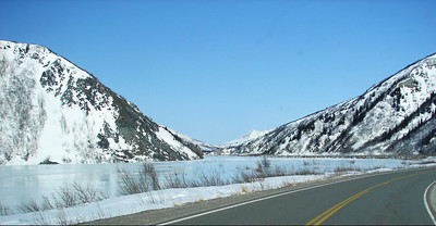 3/31/07 - The Richardson Hwy twists and turns between the Delta River and the surrounding hills.