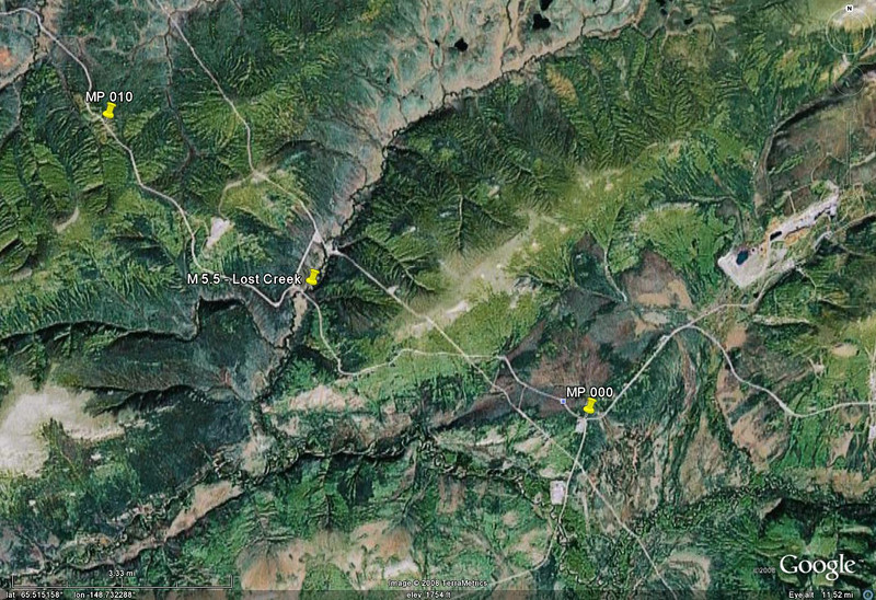 Google Earth view of this stretch of road.  The pipeline can be seen to take a more direct route across the terrain.